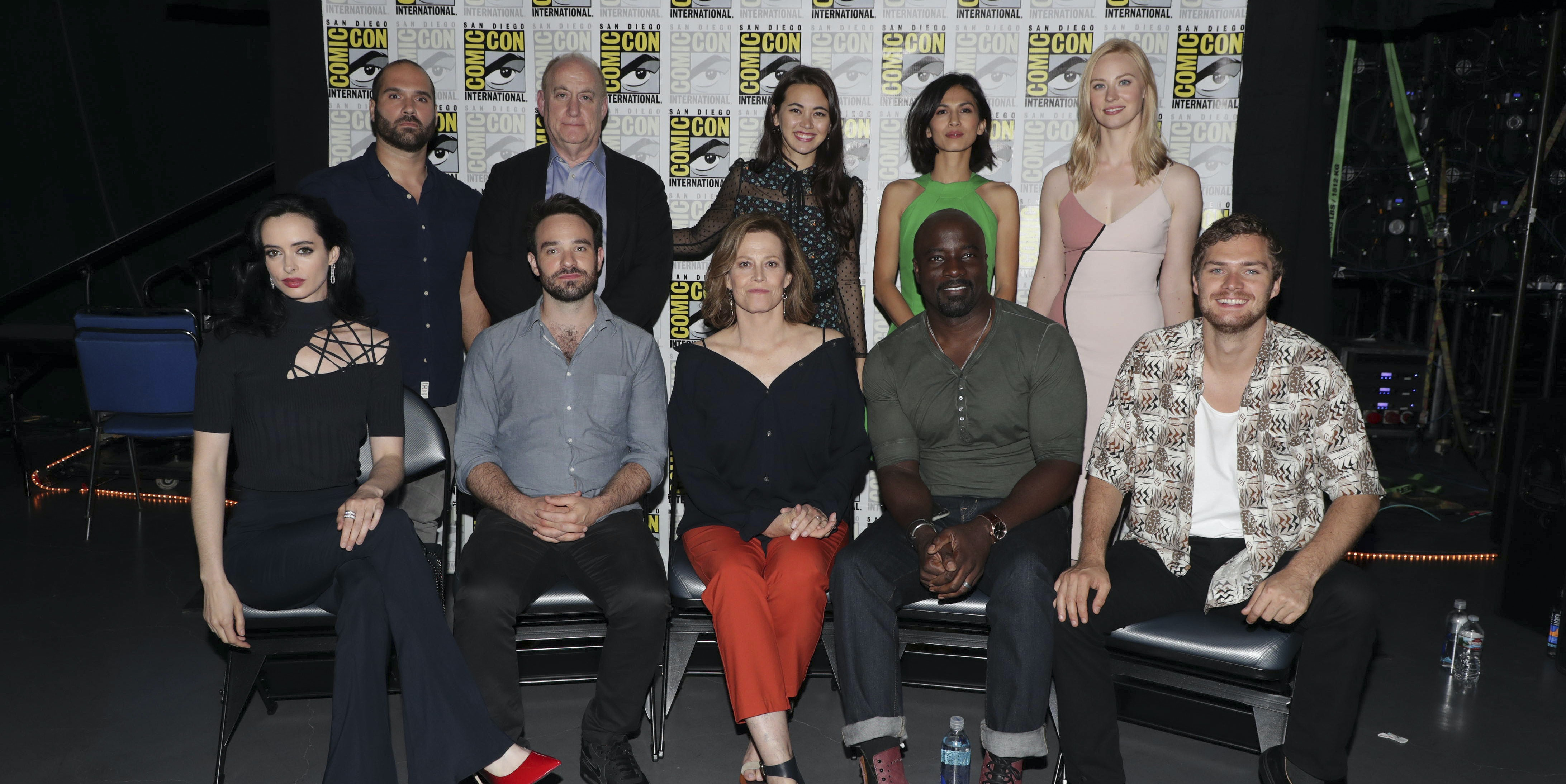 """The cast of Marvel's 'The Defenders"""" at San Diego Comic-Con 2017."""