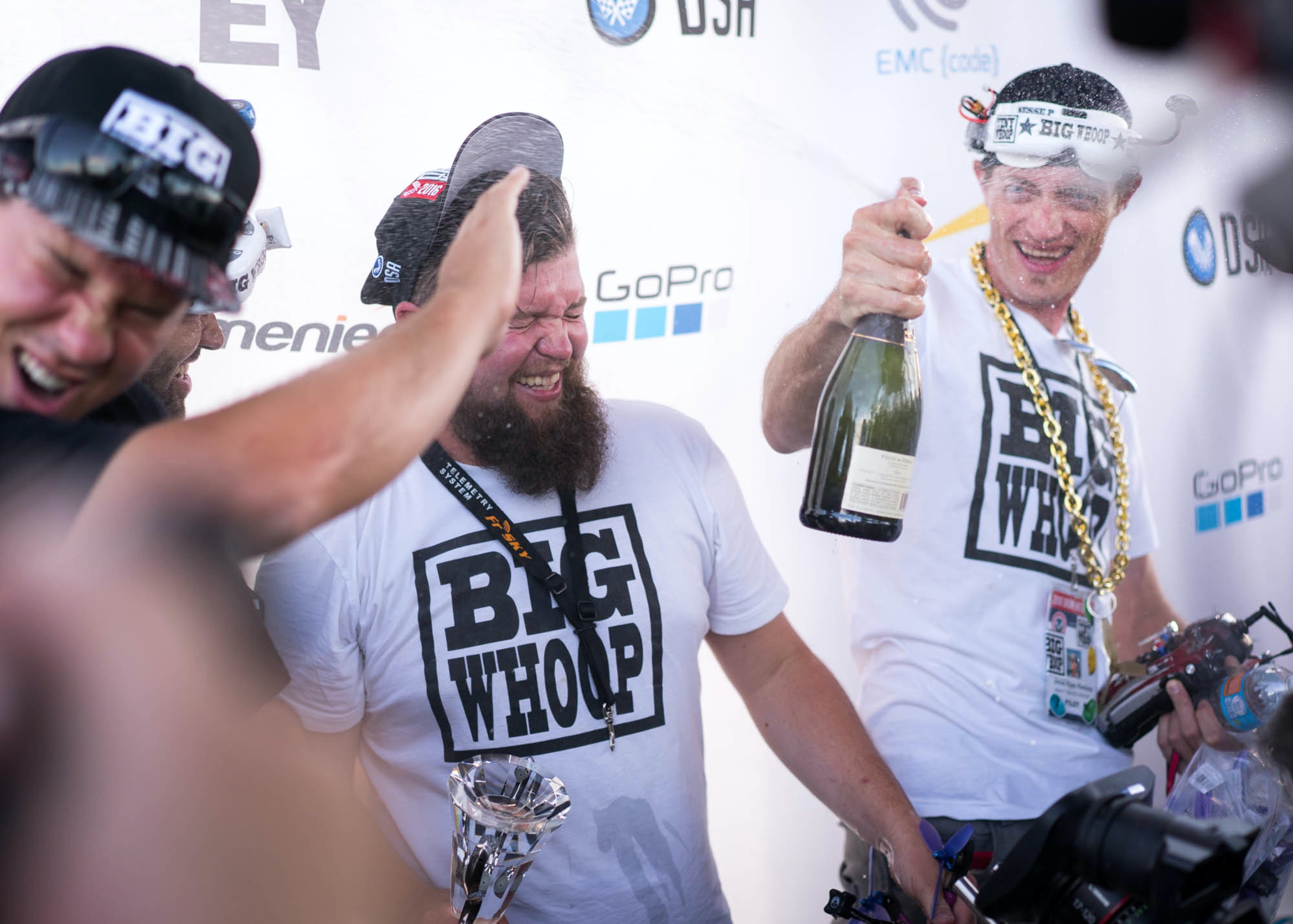 Why not spray sweet, sweet victory Champagne all over $500 goggles?