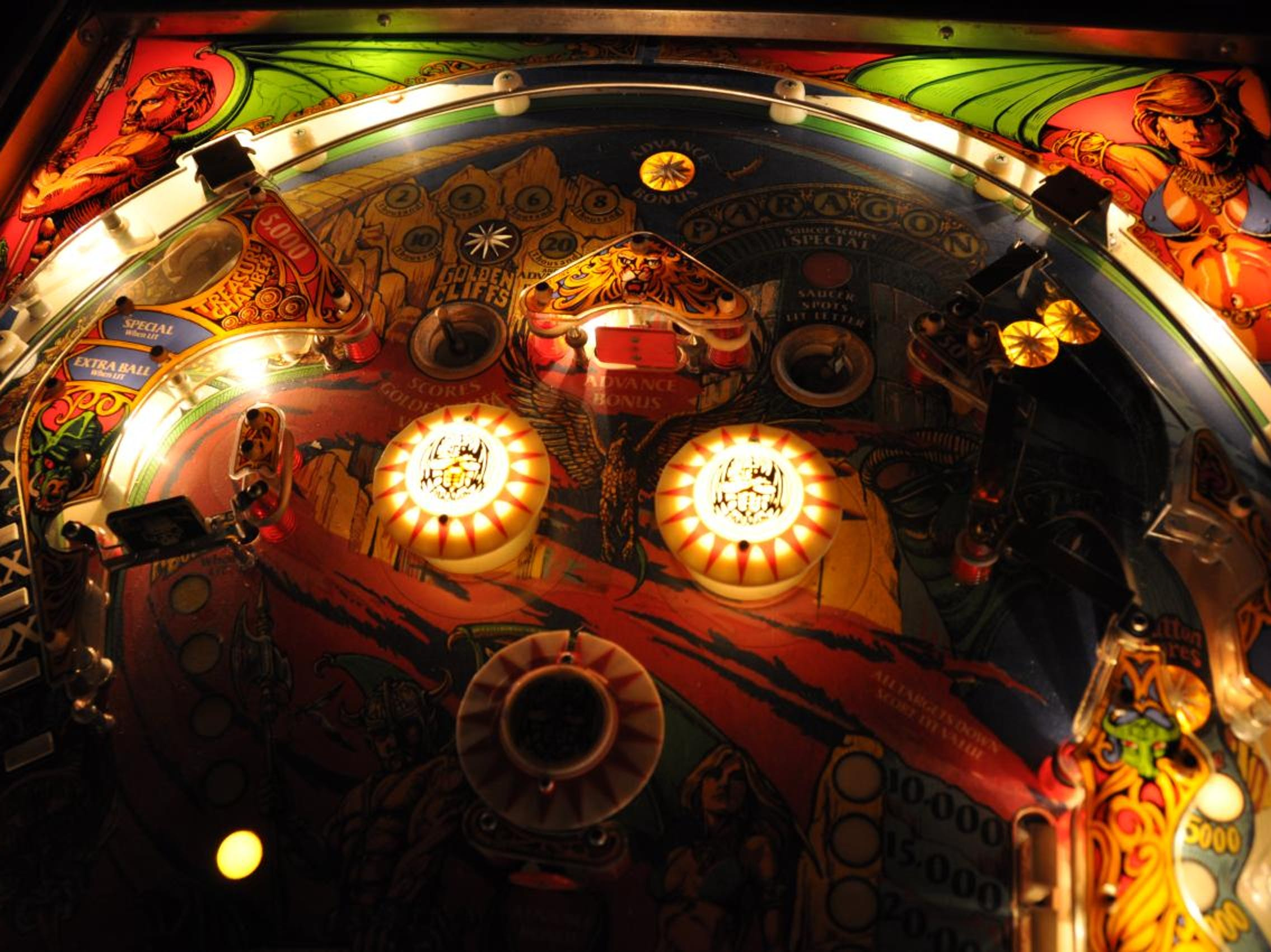 Paragon pinball playing surface lit
