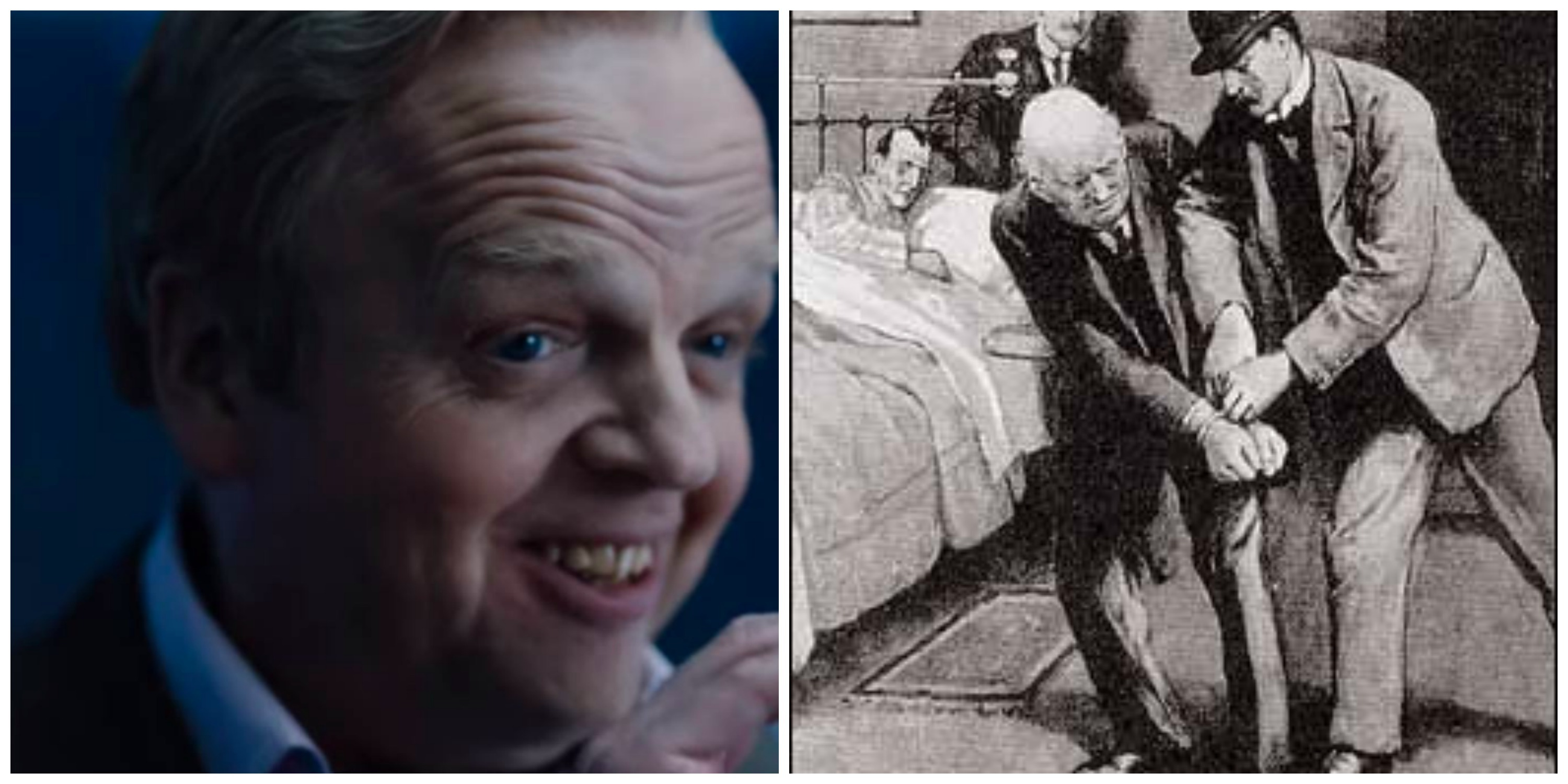LEFT: Toby Jones as Culverton Smith. RIGHT: Smith is arrested in the original story. (Illustration by Sidney Paget)