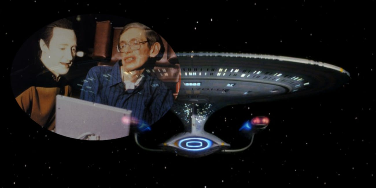 Dr. Hawking  with Brent Spiner on the sent of 'Star Trek: The Next Generation' in 1993
