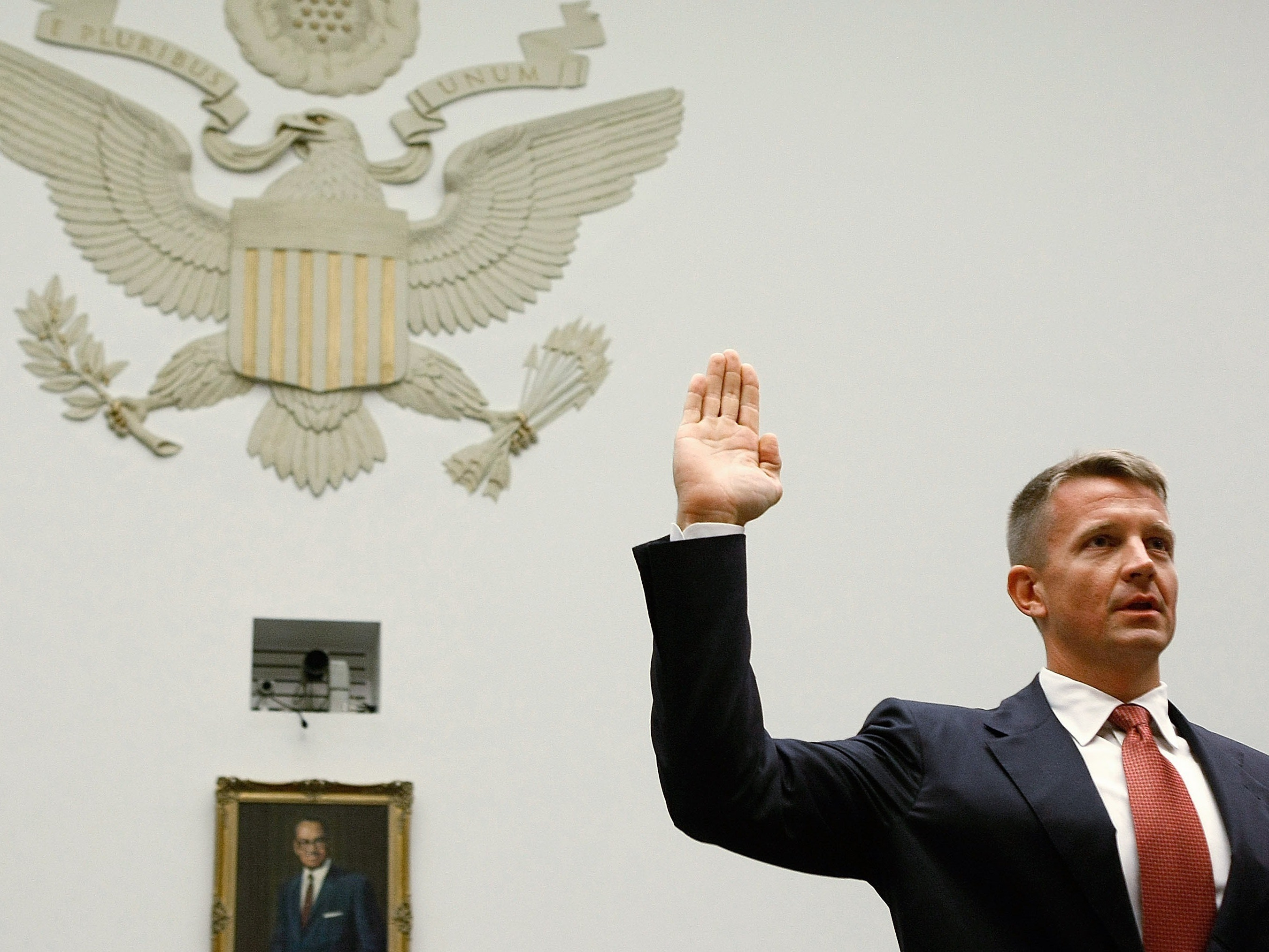 Erik Prince, chairman of the Prince Group, LLC and Blackwater USA, is sworn in during a House Oversight and Government Reform Committee hearing.