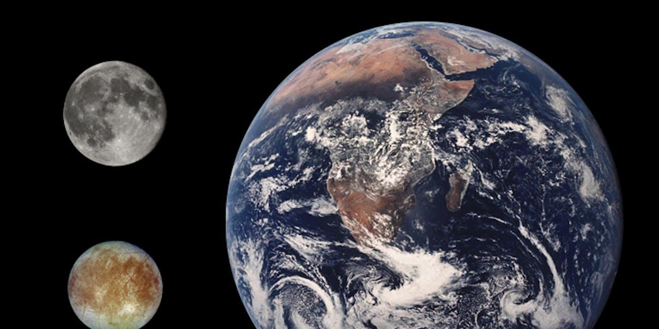 Europa Earth Moon Comparison
