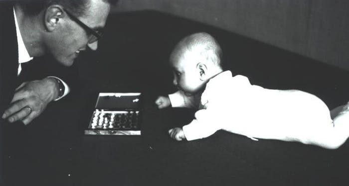 A photo from 1963 of Jürgen with his father, Johann Schmidhuber, playing chess.