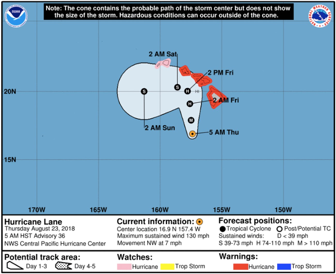 Hurricane Lane's current trajectory towards Hawaii.