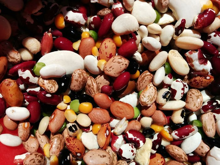 Mix of Anasazi beans, pinto beans, black beans, black eyed peas, great northern, baby Lima, green split pea, yellow split pea, small reds, bolita beans, and cranberry.