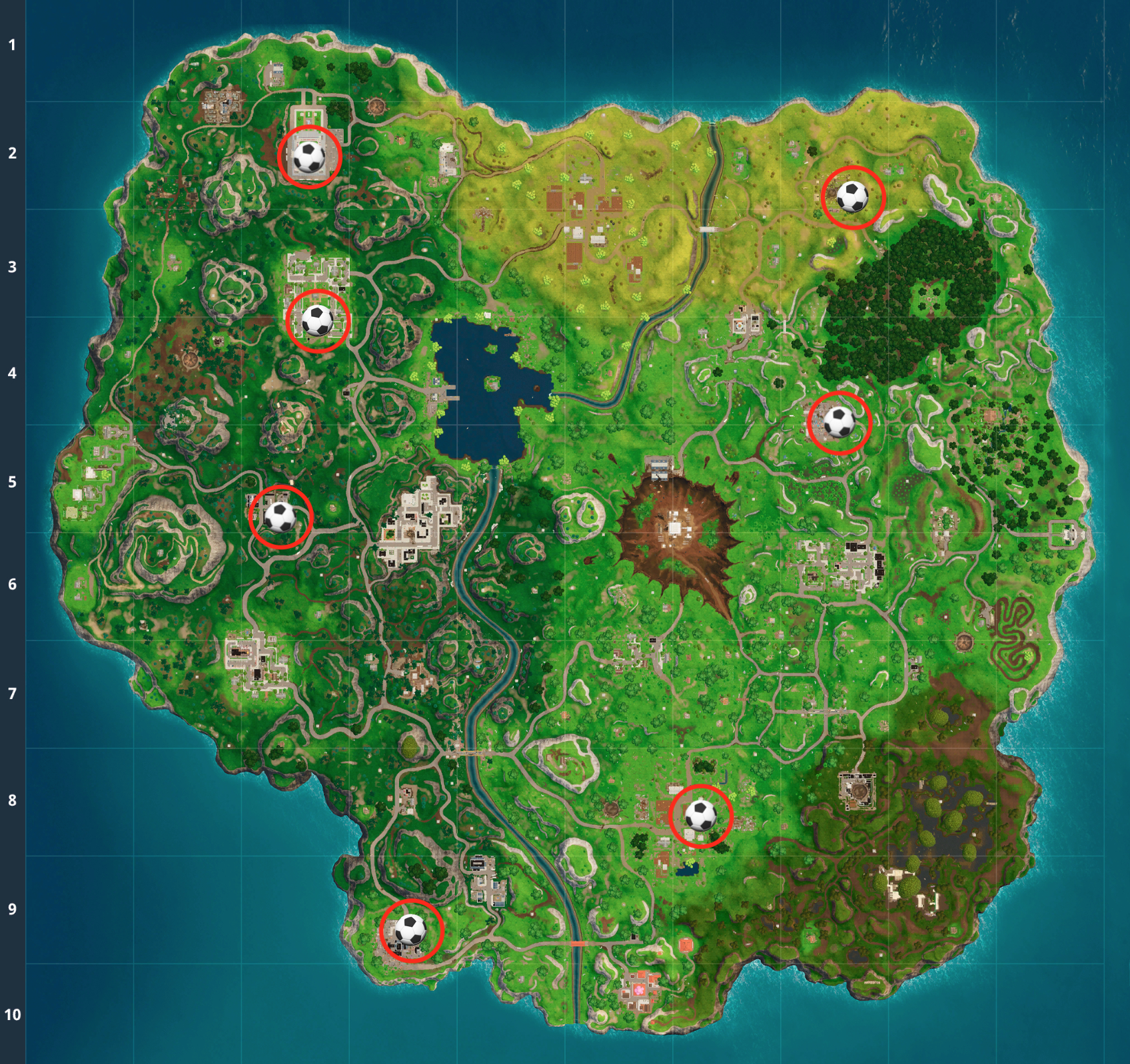 fortnite soccer field locations 7 pitches where you can score a goal inverse - soccer pitch locations fortnite