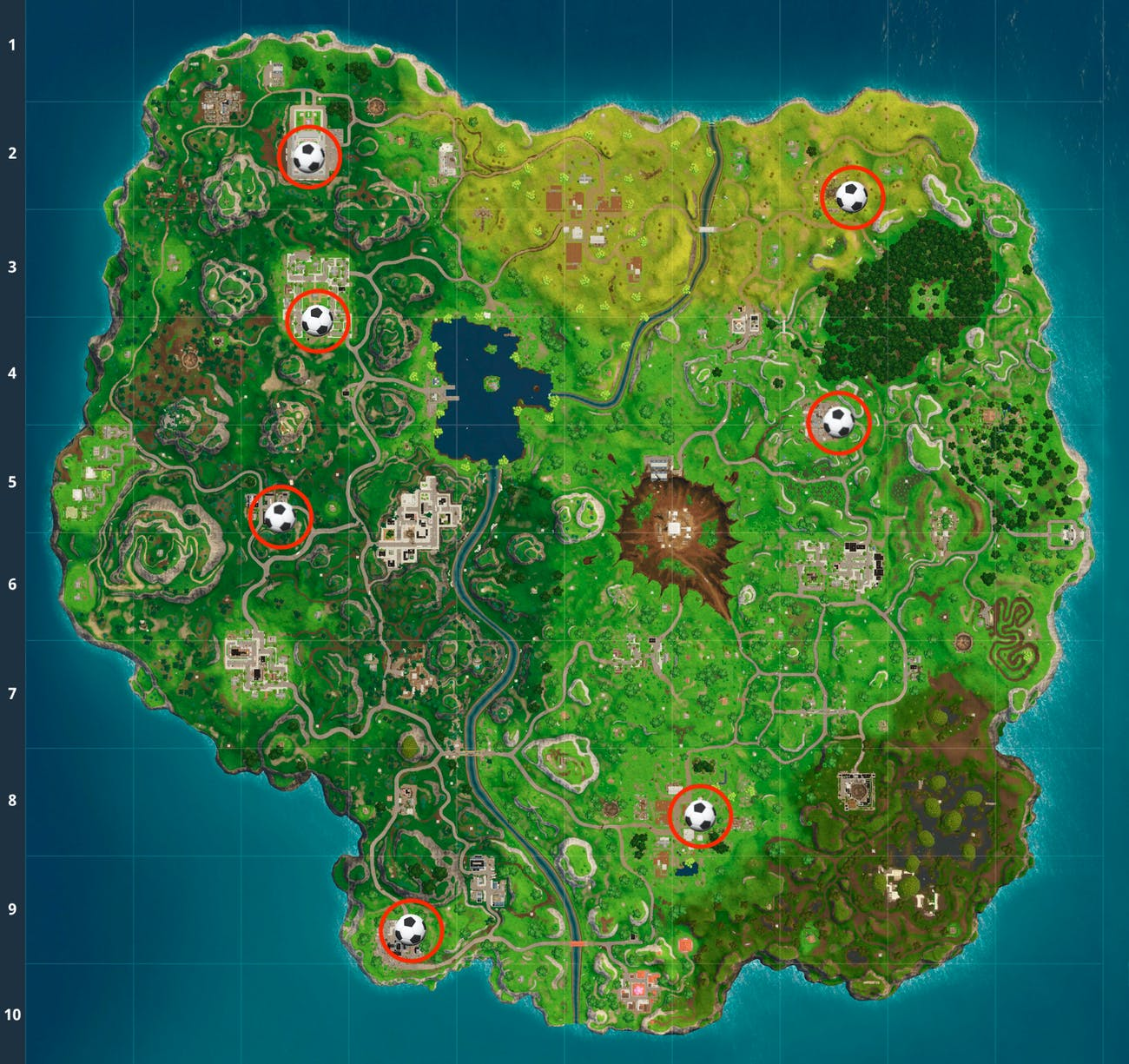 fortnite week 7 soccer pitch challenge map - fortnite world cup map