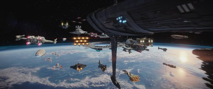 The Ghost is in the center and bottom of the Rebel fleet in 'Rogue One'
