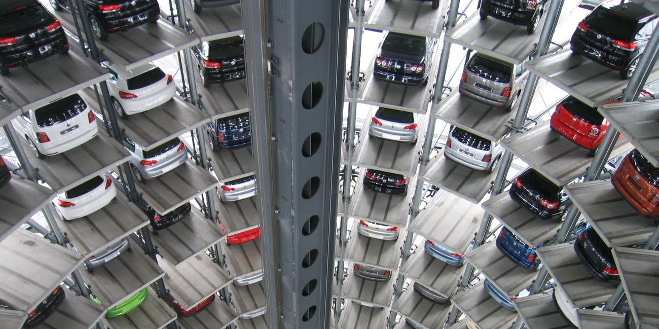 Parking lot vertical car storage time pollution space
