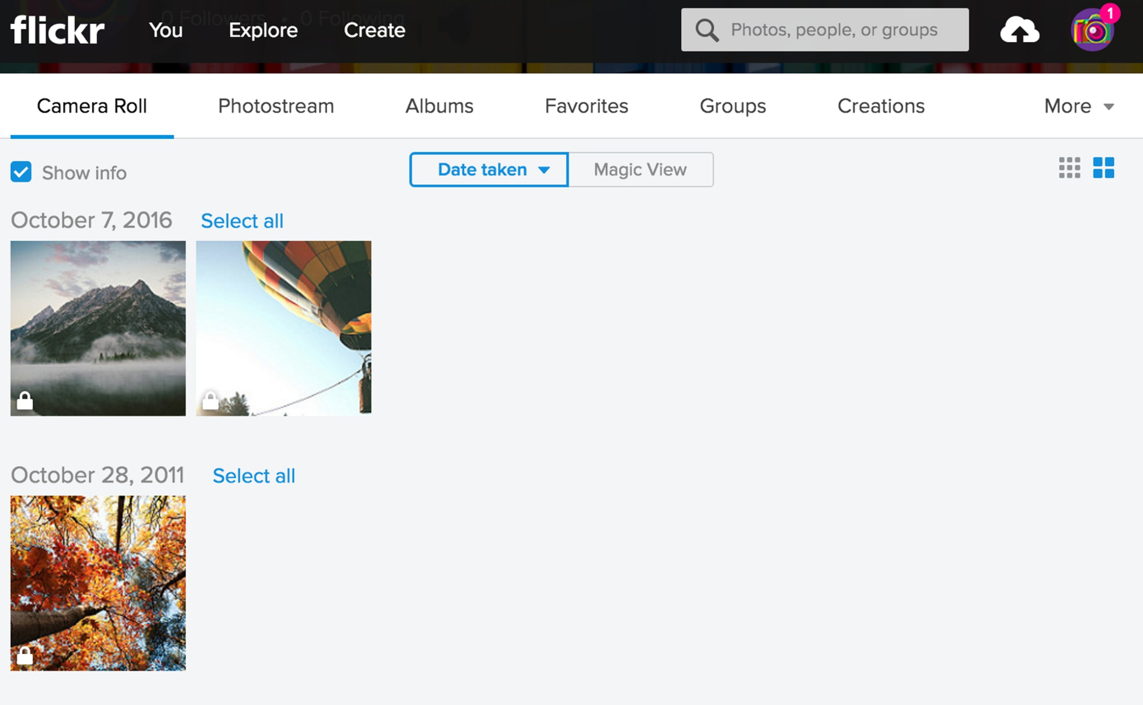 An image shows Flickr's main interface.
