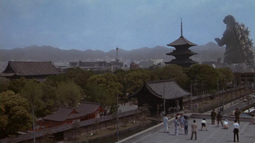 Godzilla makes his way towards Kyoto.