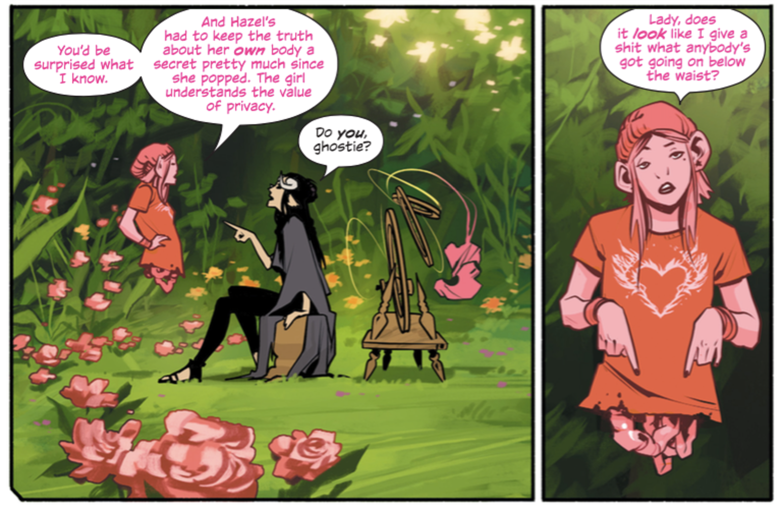 Petri and Izabel discuss their host family in 'Saga', Issue 37.
