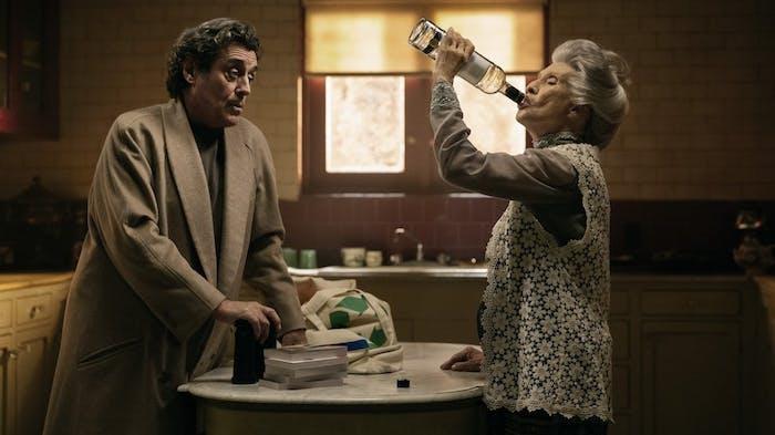 Ian McShane as Wednesday and Cloris Leachman as Zorya Vechernyaya in 'American Gods'