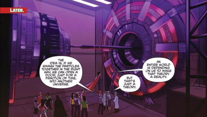 CERN's Large Hadron Collider figures prominently in a recent Justice League/Power Rangers comic.