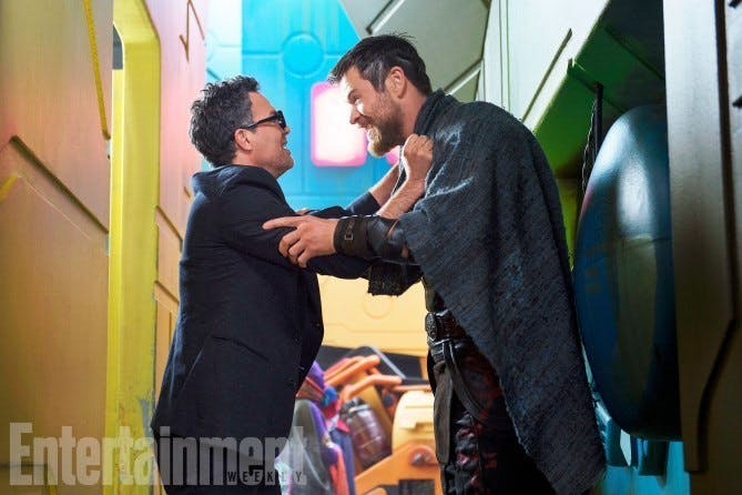 A reunion between Bruce Banner and Thor on Sakaar.