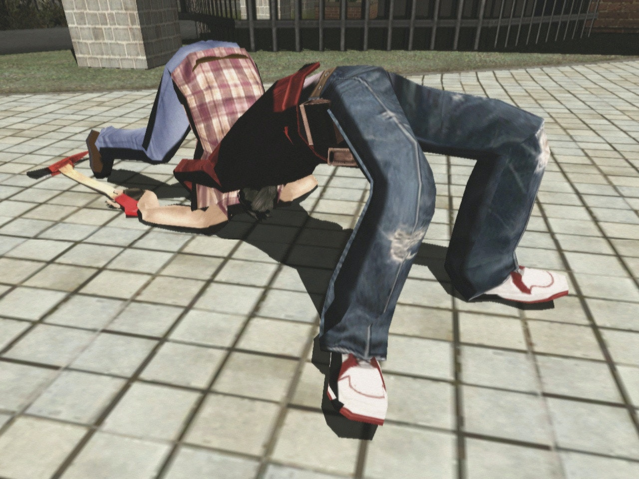 Travis Touchdown performs a suplex in 'No More Heroes'.