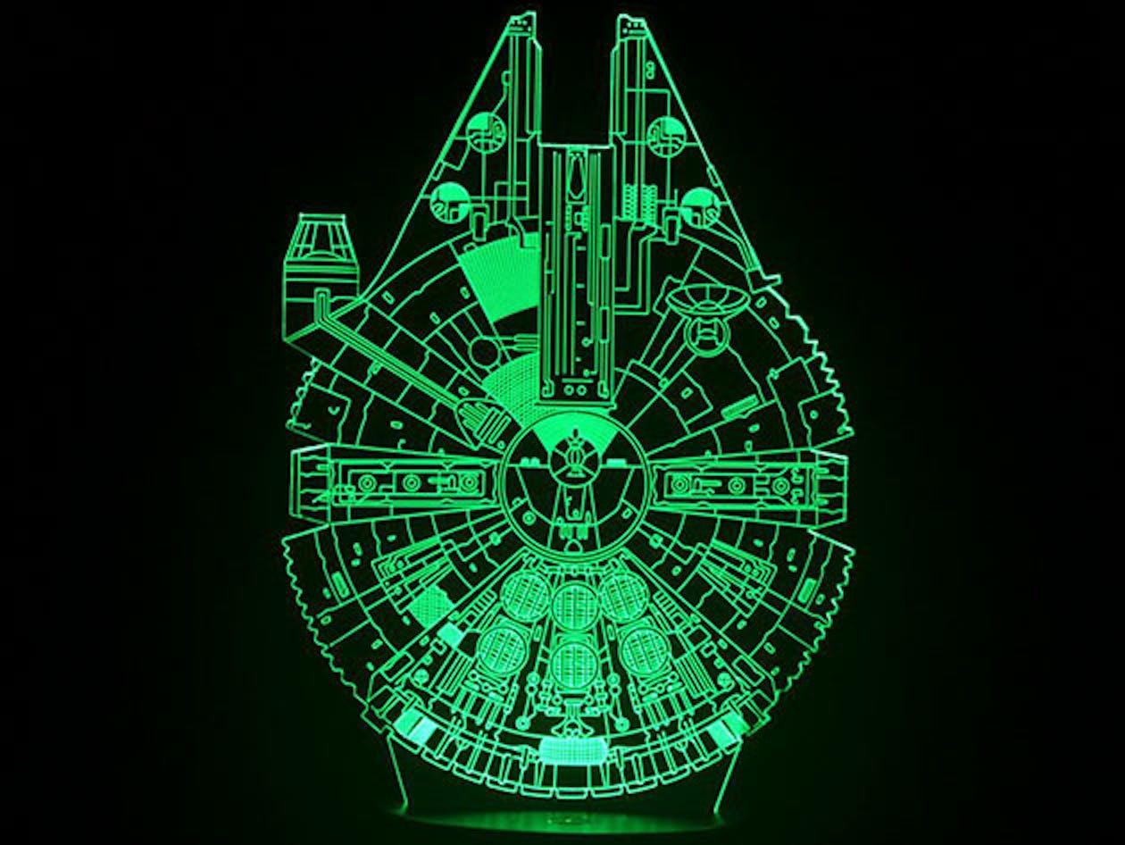 star wars millennium falcon 3d mega lamp