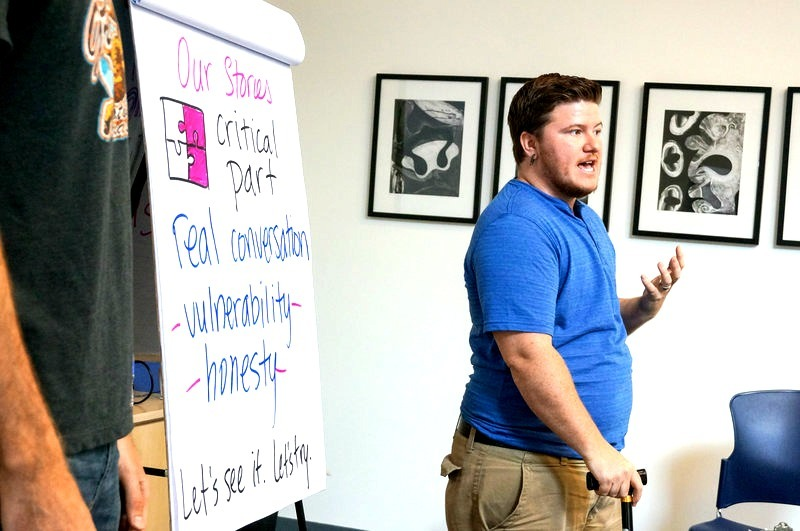 Canvassing techniques are discussed at the LA LGBT Center.