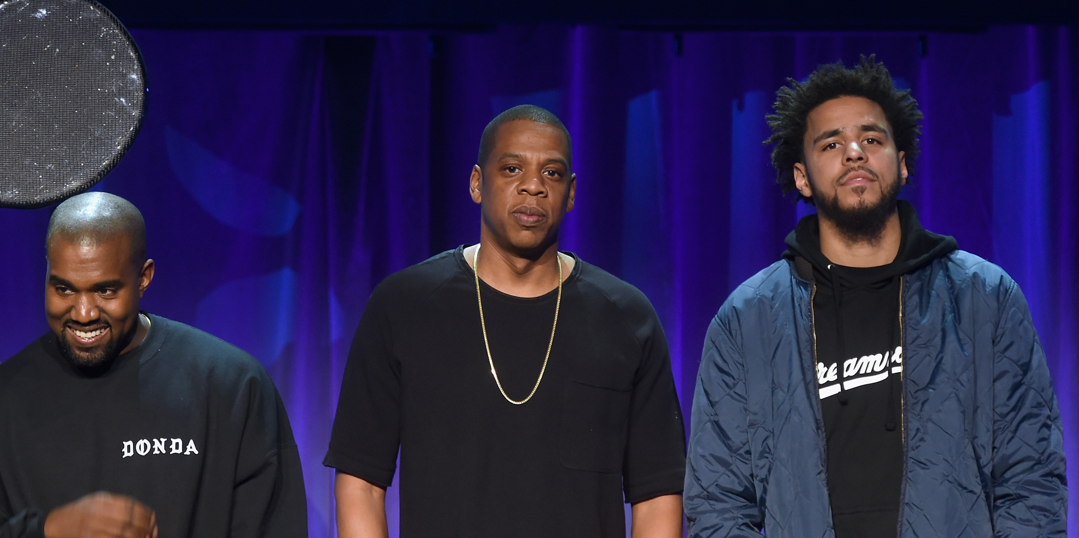 NEW YORK, NY - MARCH 30:  (L-R) Deadmau5, Kanye West, JAY Z and J. Cole onstage at the Tidal launch event #TIDALforALL at Skylight at Moynihan Station on March 30, 2015 in New York City.  (Photo by Jamie McCarthy/Getty Images for Roc Nation)