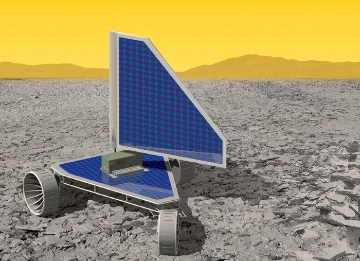 """The Venus Landsailing Rover, called """"Zephyr"""",uses a 26-foot sail made of airfoil that catches Venus' violent winds."""
