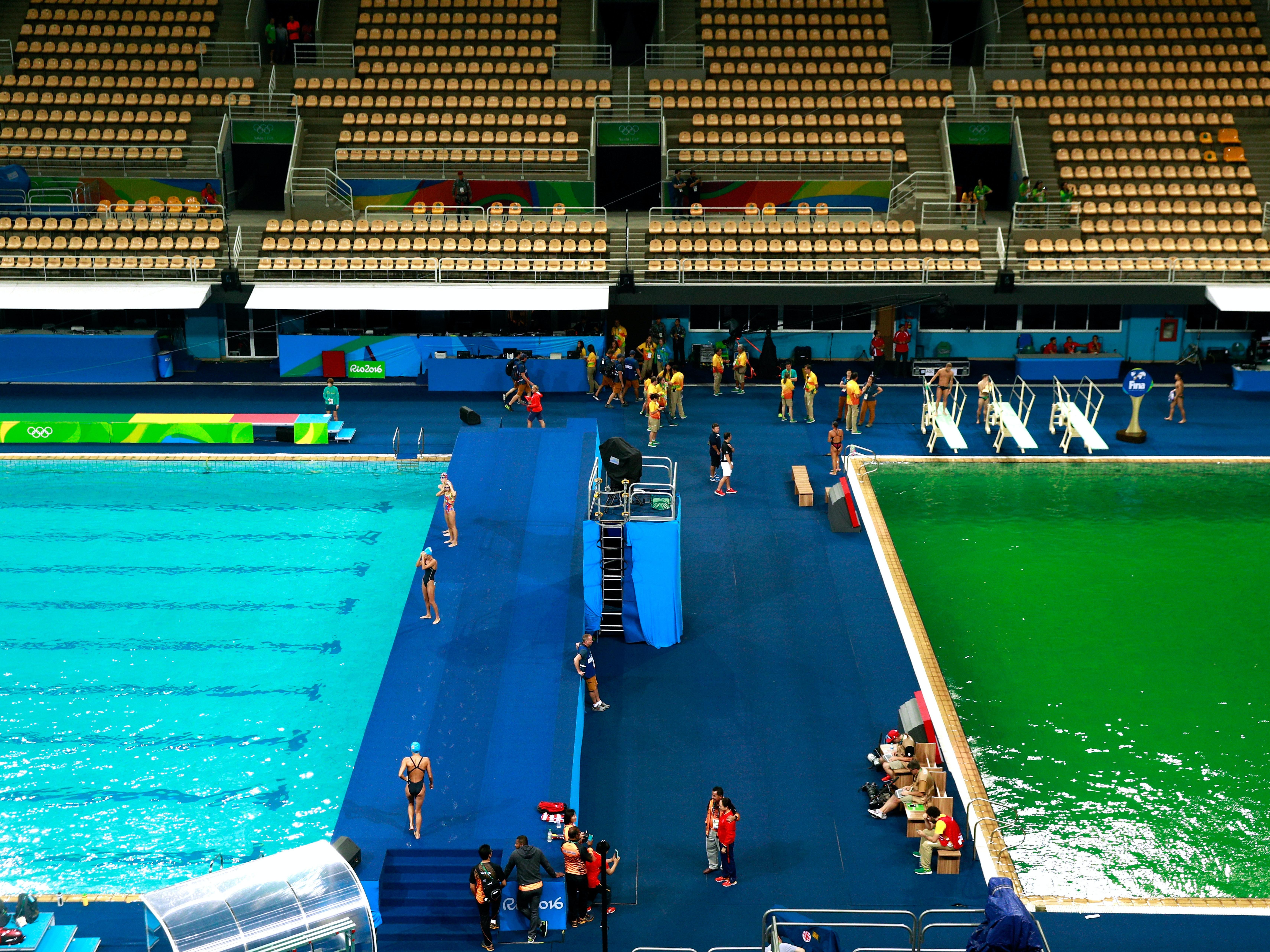 One pool, two pool, green pool, blue pool.
