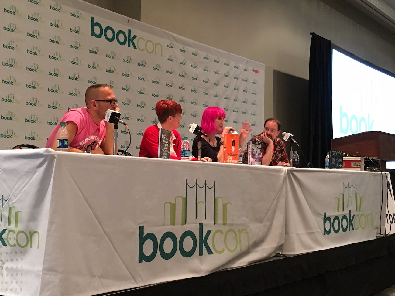 Cory Doctorow, Annalee Newitz, Charlie Jane Anders, and John Scalzi at Book Con