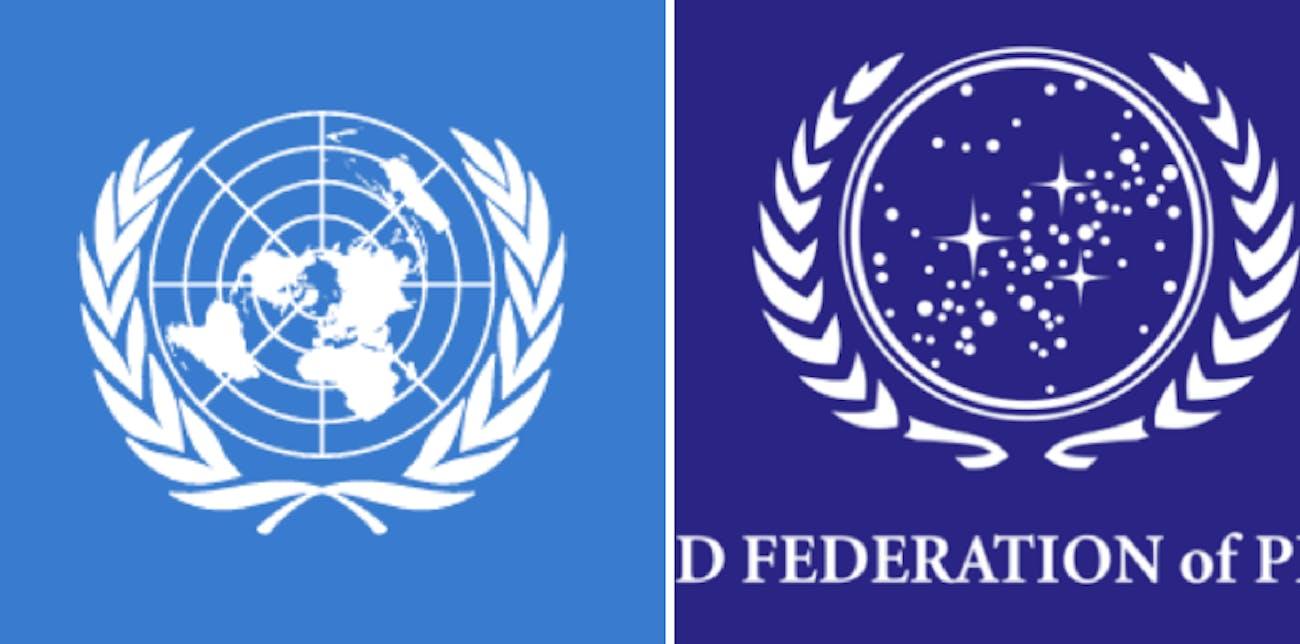 LEFT: UN seal IRL. RIGHT: UFP seal in Star Trek.