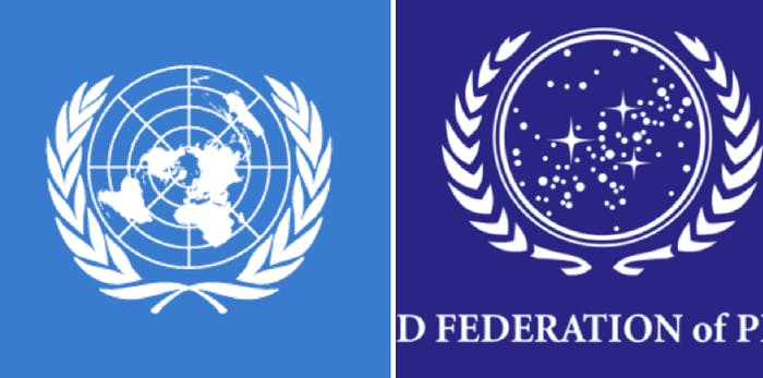 LEFT: UN seal IRL. RIGHT: UFP seal in Star Trek.