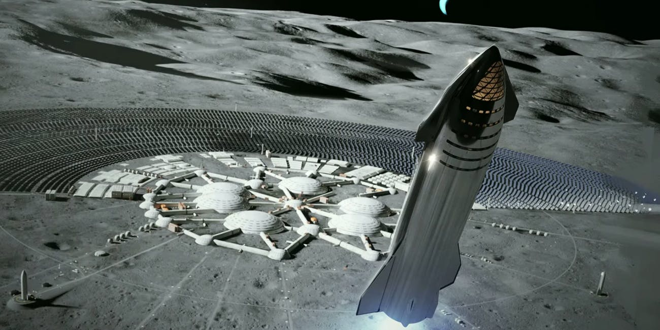 An artist's rendering of the SpaceX starship near a base on the moon.