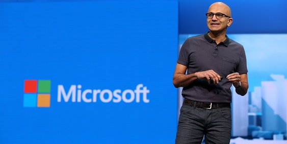 SAN FRANCISCO, CA - MARCH 30:  Microsoft CEO Satya Nadella delivers the keynote address during the 2016 Microsoft Build Developer Conference on March 30, 2016 in San Francisco, California. The Microsoft Build Developer Conference runs through April 1.  (Photo by Justin Sullivan/Getty Images)