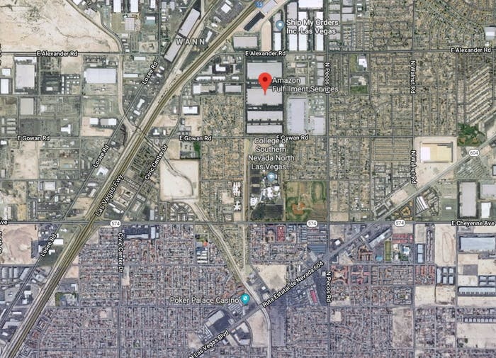 As this satellite image shows, the Amazon Fulfillment Center in North Las Vegas is very big. The white roof will soon be covered with black solar panels.