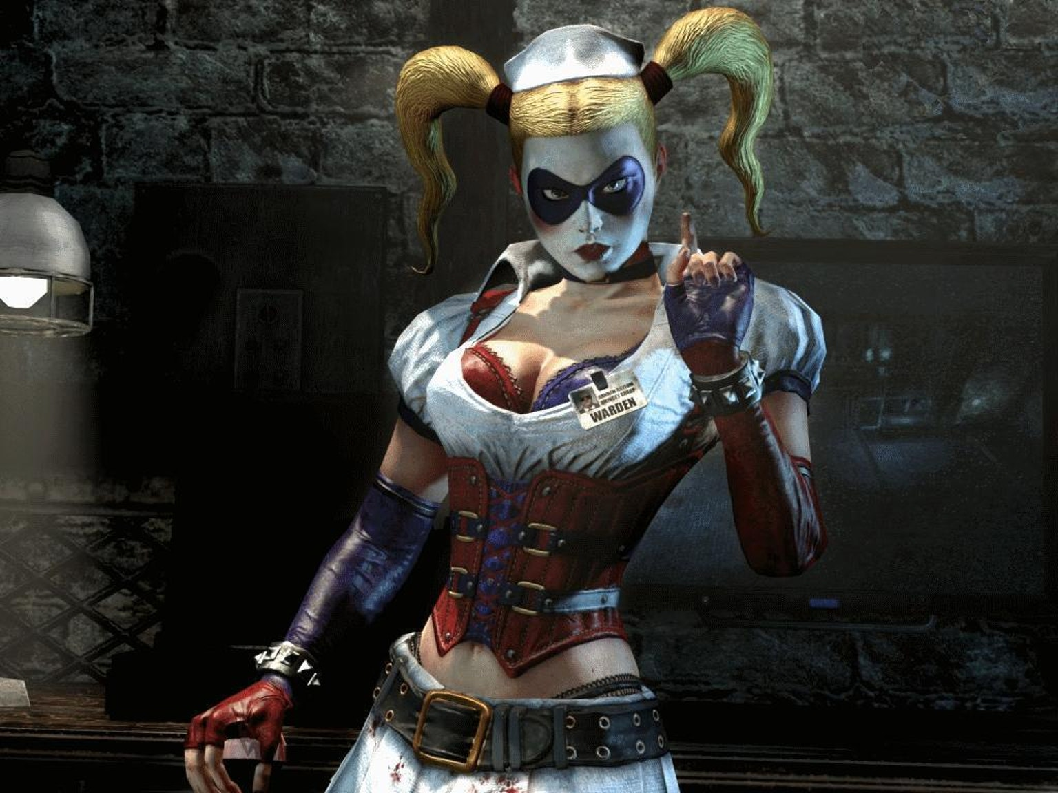 Toss a corset over a tattered nurse's uniform and you're halfway to Arkham Harley.