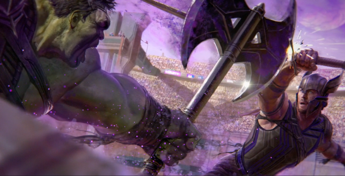 Concept art for a battle scene between Hulk and Thor in 'Thor: Ragnarok'