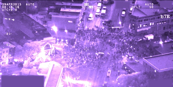 FBI surveillance footage shows downtown Baltimore during the Freddie Gray Protests.