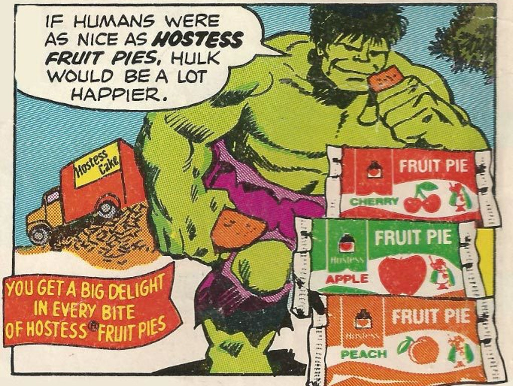 The Incredible Hulk in a Hostess Fruit Pie ad