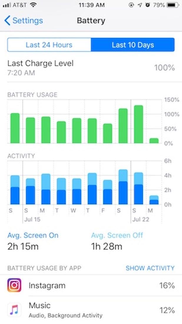 apple ios 12 battery menu