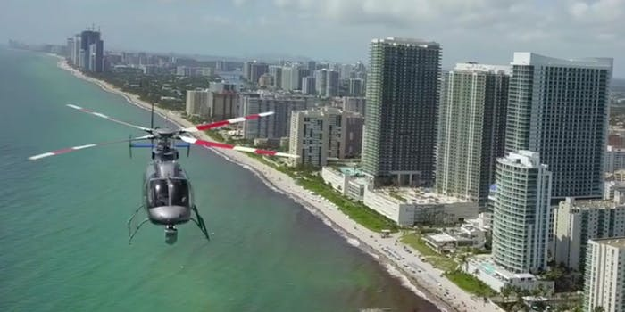Drone captures helicopter flying straight at it.
