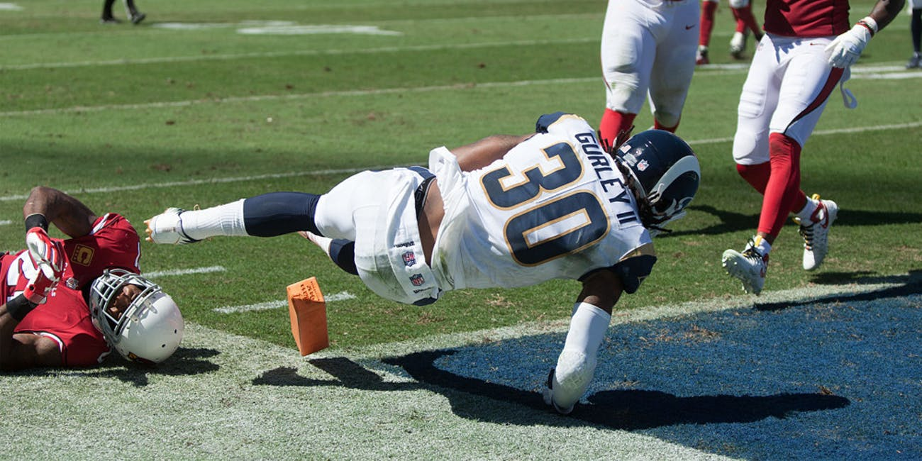 Todd Gurley II, RB of the Los Angeles Rams dives in for a touchdown during their game against the Arizona Cardinals on Sunday September 16, 2018 at the Los Angeles Coliseum in Los Angeles, California.