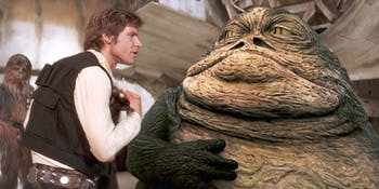 Han and Jabba argue in 'Star Wars: A New Hope'.
