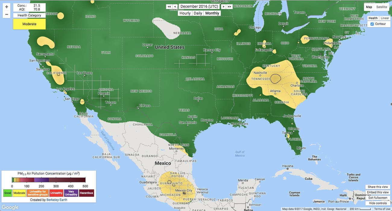 United states mexico air pollution map berkeley earth