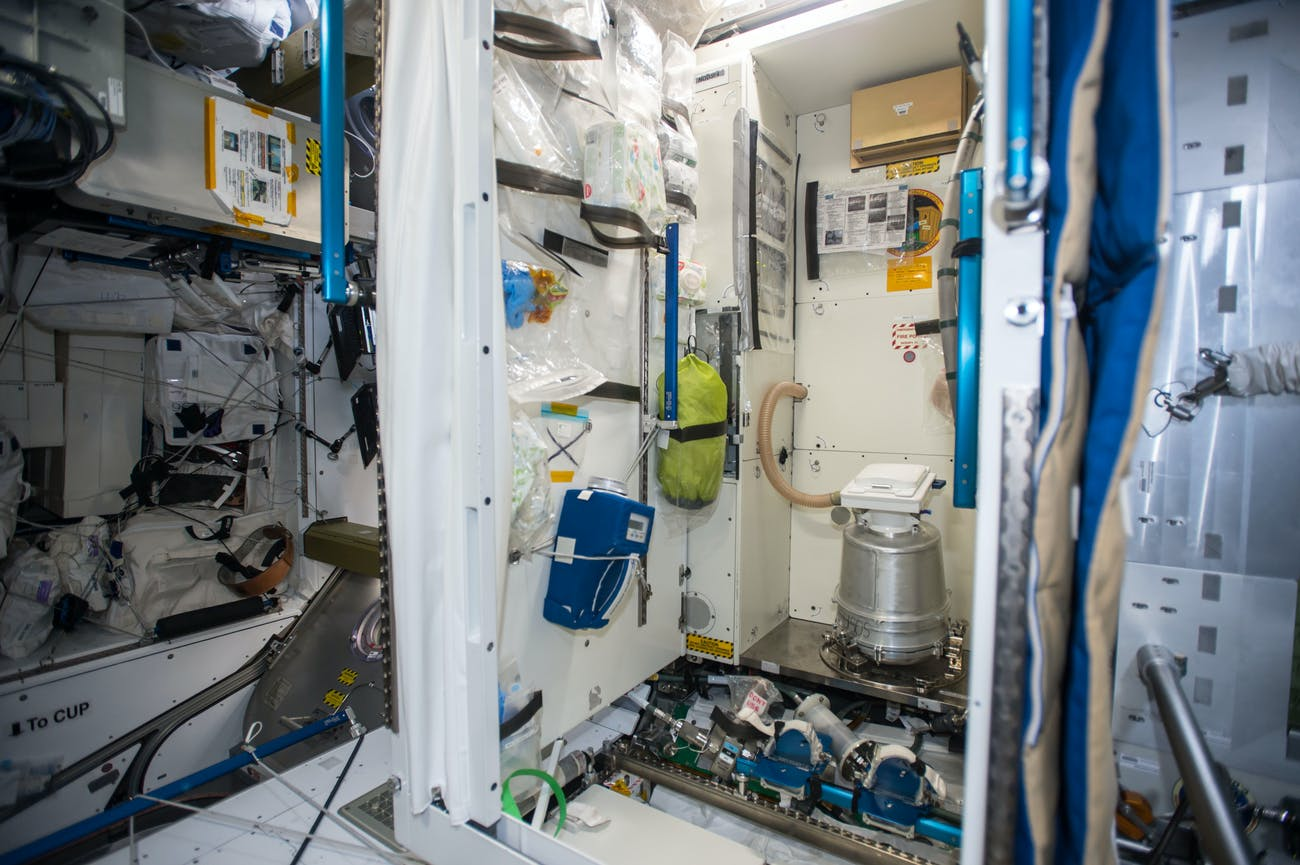 iss052e006450 (Jun. 23, 2017) --- Microbial Tracking-2 by the toilet in the node 3 module monitoring microbes present to assess the health environment on the International Space Station (ISS) and understand the effects of the spaceflight environment on viral and microbial pathogen dynamics.