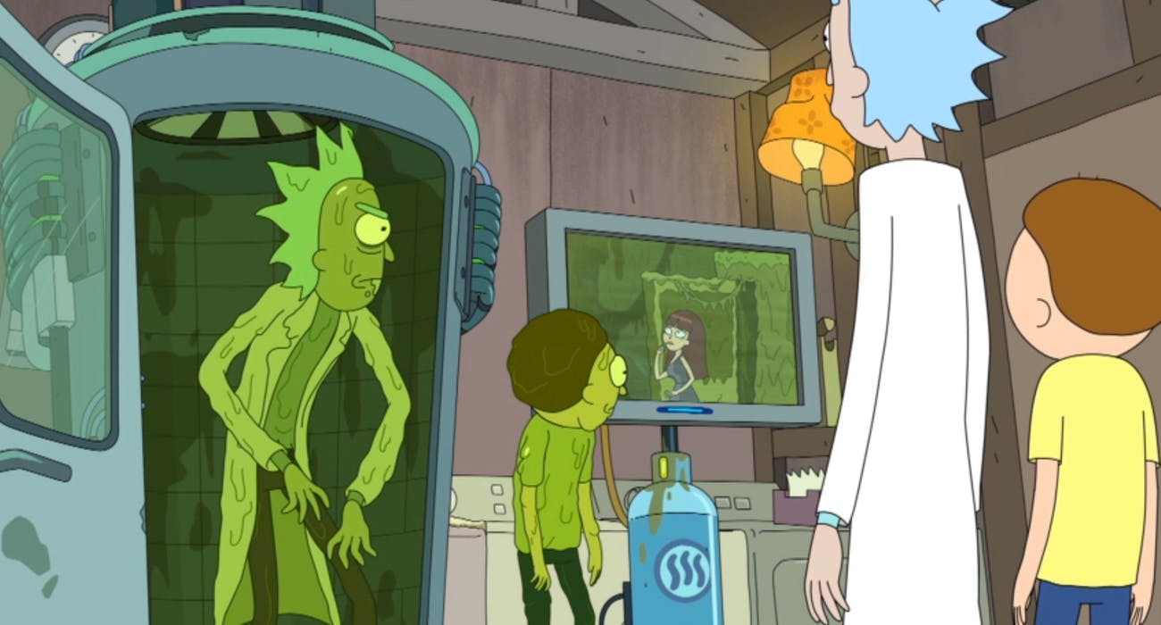 Inevitably, Toxic Rick and Morty make it back to the real world.