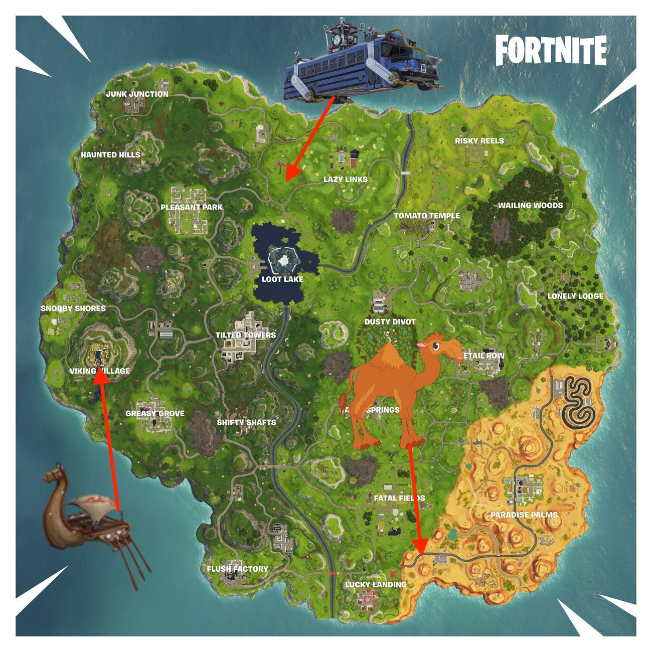 Fortnite Camel Crashed Battle Bus Locations Map And Video For
