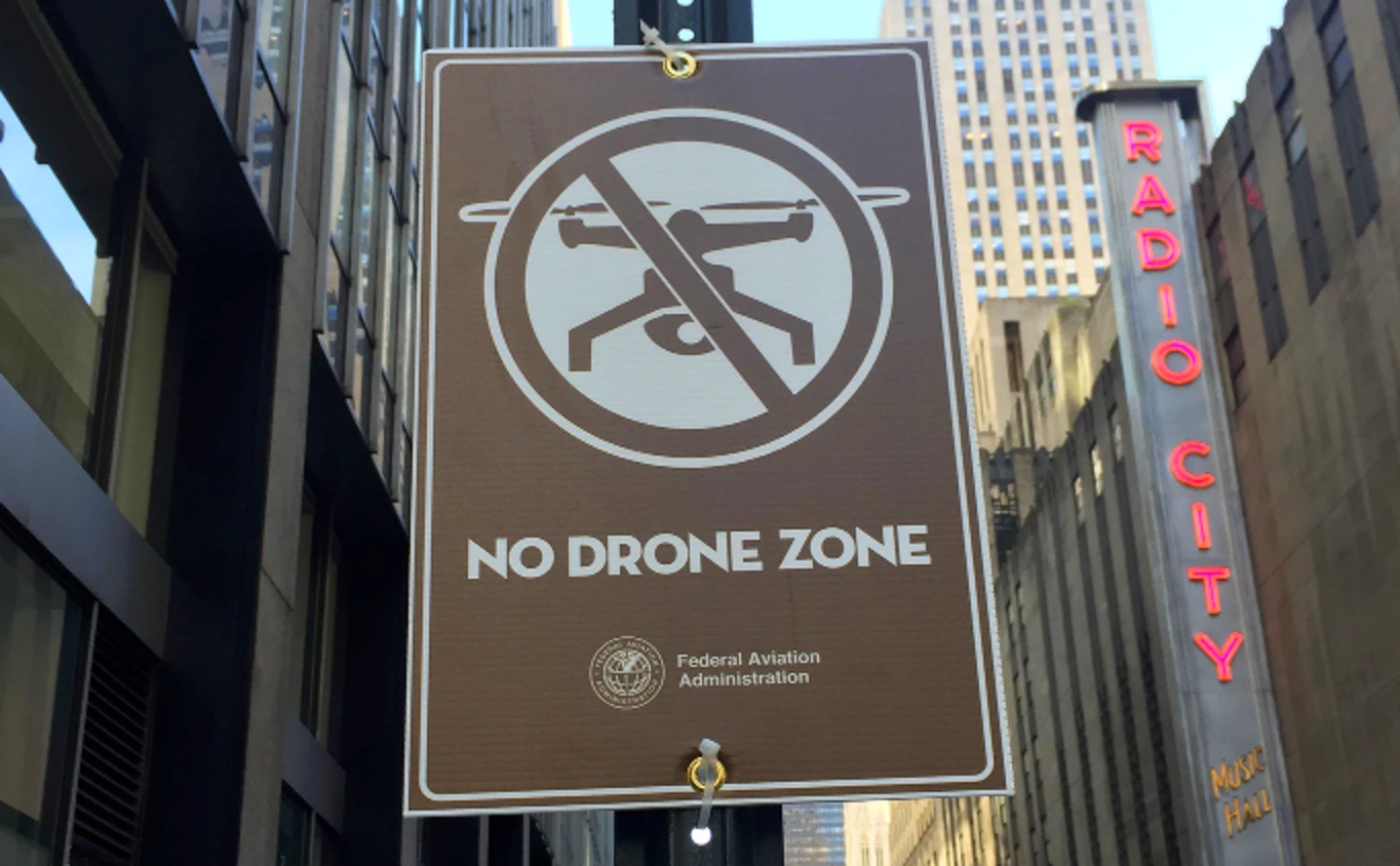 An FAA sign in New York City ahead of the Pope's visit in 2015.