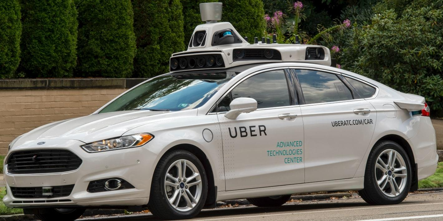 A Ford used by  Uber to test its autonomous technology.