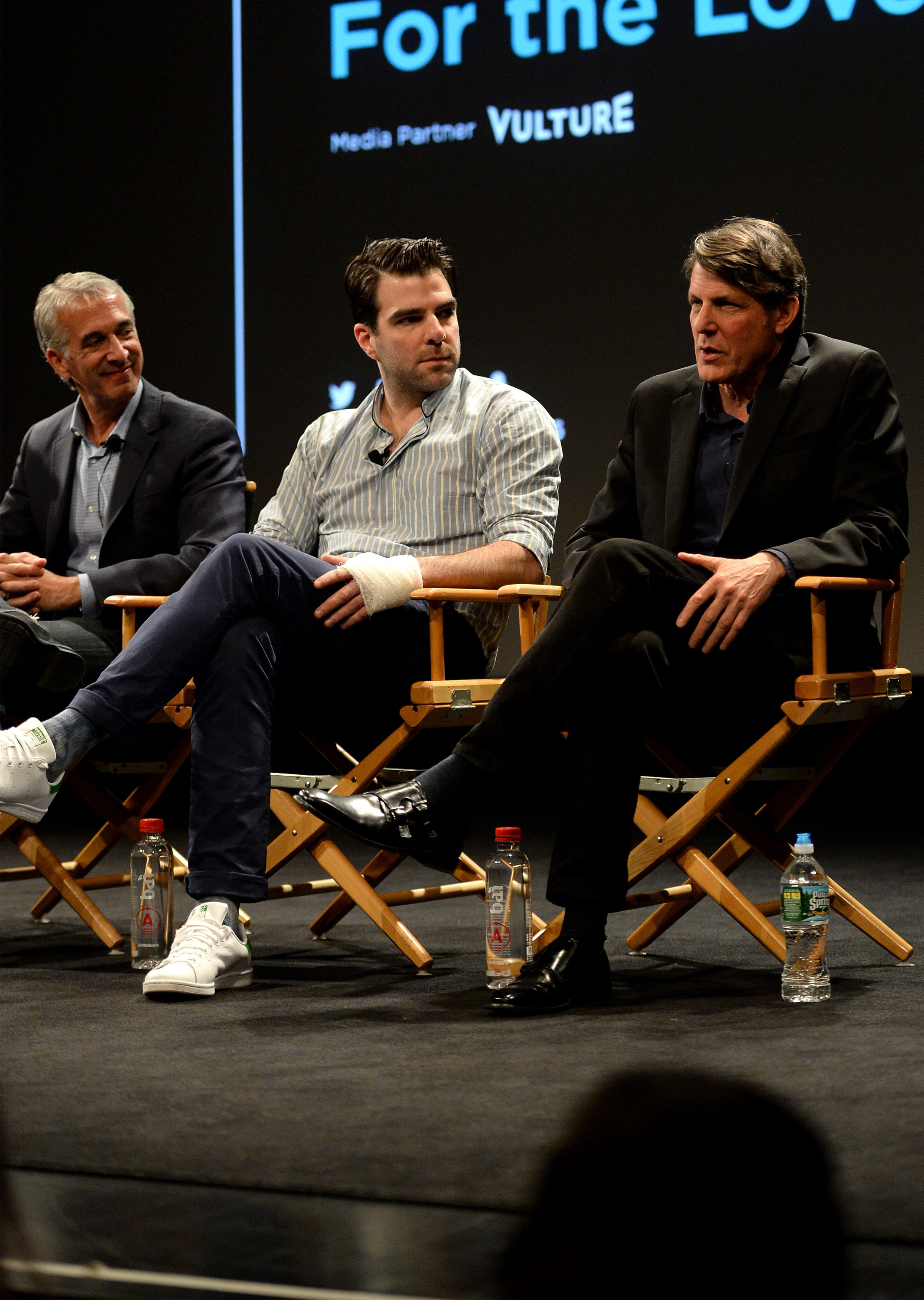 NEW YORK, NY - APRIL 18:  (L-R) Scott Mantz, Zachary Quinto, and Adam Nimoy speak onstage.