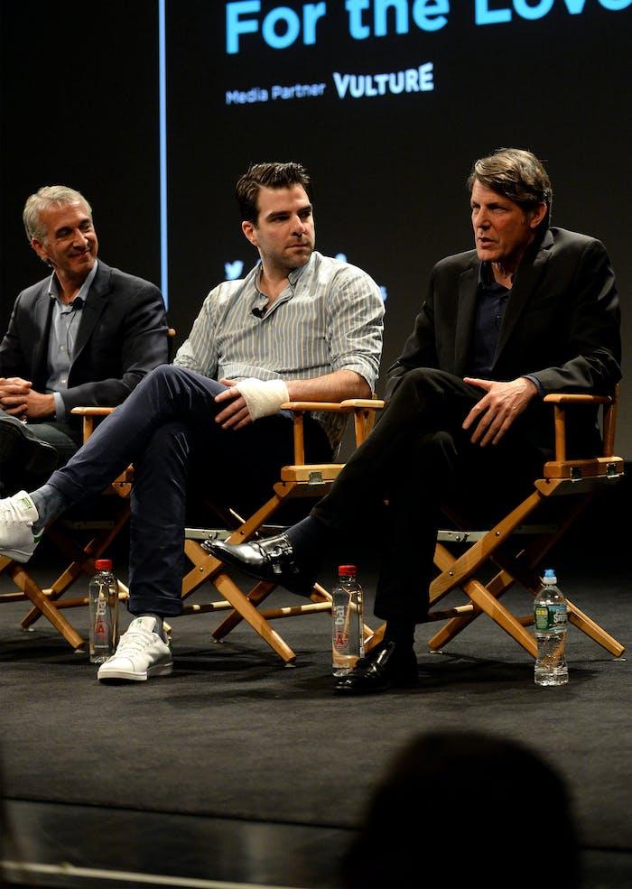 NEW YORK, NY - APRIL 18:  (L-R) Scott Mantz, Zachary Quinto, and Adam Nimoy speak onstage.