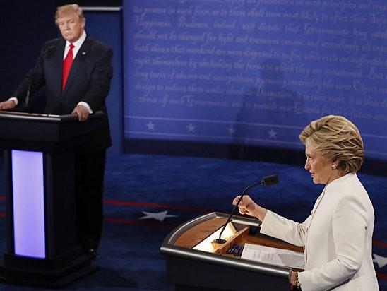 Trump and Clinton at last night's debate.