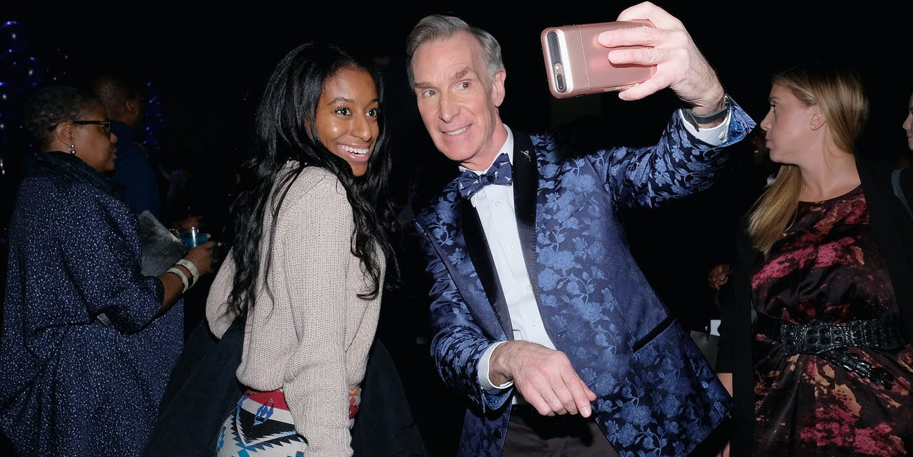 NEW YORK, NY - FEBRUARY 01: Bill Nye poses for a selfie with a guest at cocktails and an auction at the Inaugural Blue Jacket Fashion Show to Benefit Prostate Cancer Foundation at Pier 59 Studios on February 1, 2017 in New York City. (Photo by D Dipasupil/Getty Images for Prostate Cancer Foundation)